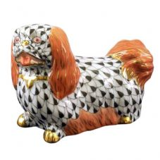 Herend Porcelain Fishnet Figurine of a Pekingese Palace Dog
